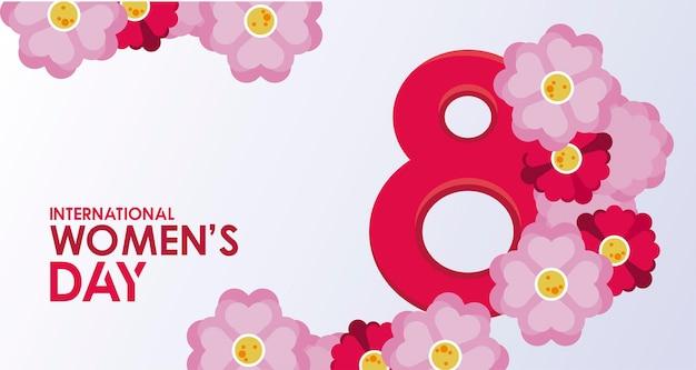 Cartaz de celebração do dia internacional da mulher com ilustração de letras e flores
