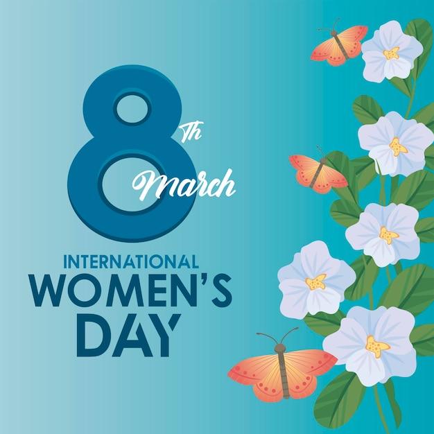 Cartaz de celebração do dia internacional da mulher com letras e borboletas na ilustração do jardim