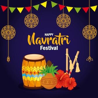Cartaz de celebração do feliz navratri com dhol e decoração