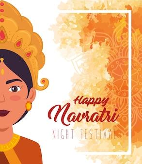 Cartaz de celebração do feliz navratri com meia face do desenho de ilustração de maa durga