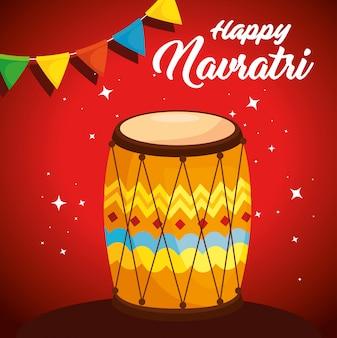 Cartaz de celebração do feliz navratri com tambor