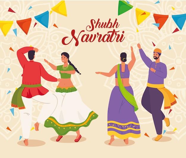 Cartaz de celebração feliz navratri com casais indianos dançando e celebrando o design da ilustração