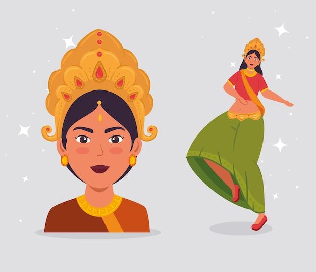 Cartaz de celebração feliz navratri com desenho de ilustração de dança maa durga