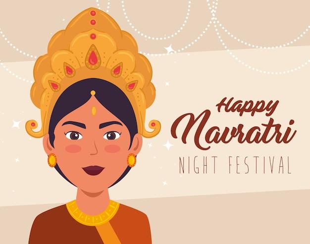 Cartaz de celebração feliz navratri com design de ilustração de decoração maa durga