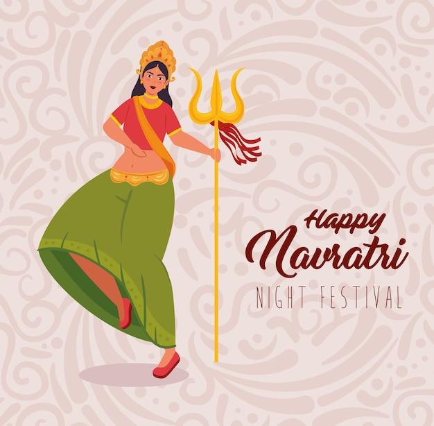 Cartaz de celebração feliz navratri e mulher indiana dançando com desenho de ilustração de tridente