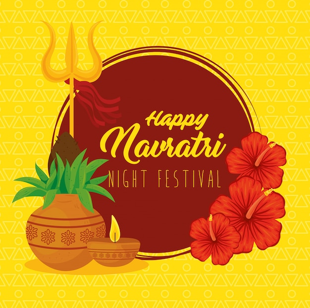 Cartaz de celebração feliz navratri, festival noturno com decoração
