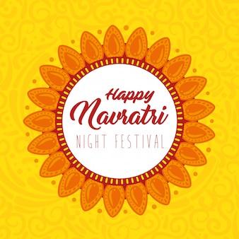 Cartaz de celebração feliz navratri, festival noturno e decoração de flores