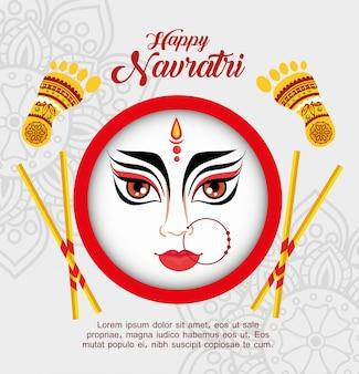 Cartaz de celebração navratri feliz com cara de durga