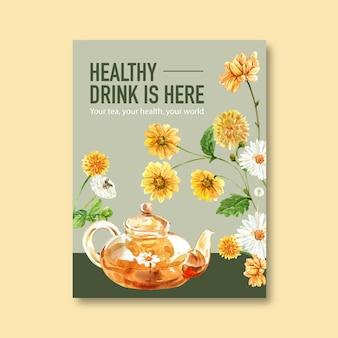 Cartaz de chá de ervas com folhas, crisântemo, camomila ilustração em aquarela.