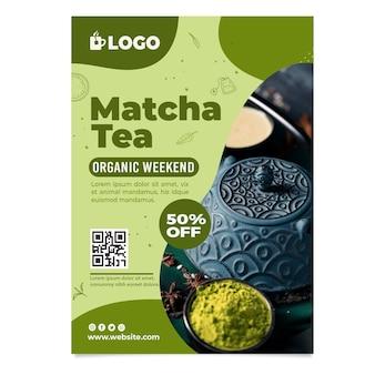 Cartaz de chá matcha com desconto