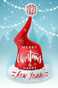 Cartaz de chapéu de papai noel de natal com letras