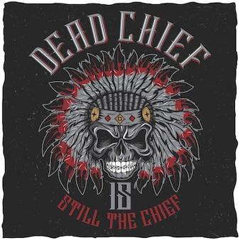 Cartaz de chefe morto com caveira com raiva em ilustração de chapéu clássico indiano