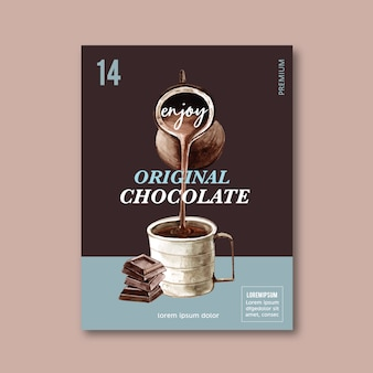 Cartaz de chocolate com chocolate frappe de bebida, ilustração de aquarela