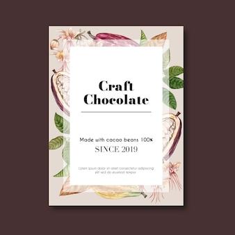 Cartaz de chocolate com grãos de cacau para chocolate artesanal
