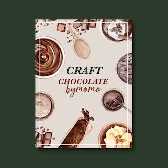 Cartaz de chocolate com ingredientes fazendo barra de chocolate quebrou, ilustração de aquarela