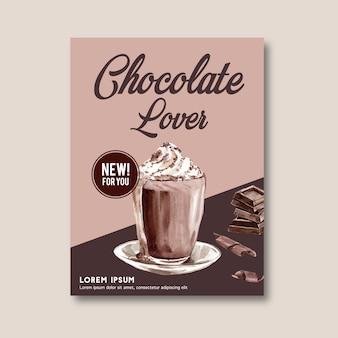 Cartaz de chocolate com ingredientes fazendo barra de chocolate quebrou