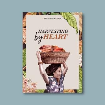 Cartaz de chocolate com mulher colhendo ingredientes cacau, ilustração aquarela