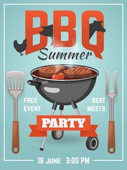 Cartaz de churrasco de verão