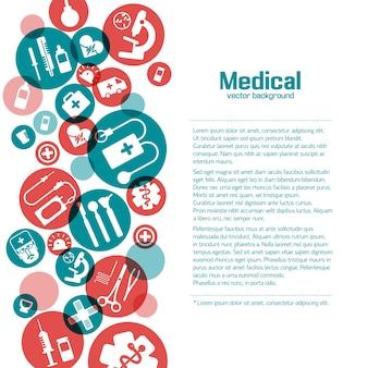 Cartaz de ciências médicas com ícones em círculos vermelhos e verdes em branco