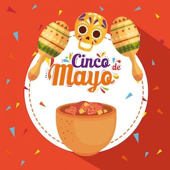 Cartaz de cinco de mayo com comida tradicional e ornamentos