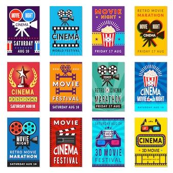 Cartaz de cinema. coleção de fundos do filme vintage cartões retro cartaz filmes