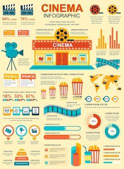 Cartaz de cinema com modelo de elementos de infográfico em estilo simples.