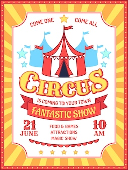 Cartaz de circo. convite para evento de feira de diversões, anúncio de performances de carnaval, tenda de circo e fundo de vector banner retrô de texto de anúncio. tenda com fantástico show de mágica, atrações, comida e jogos