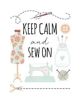 Cartaz de citação para manter a calma e costurar