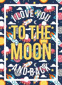 Cartaz de citações eu te amo para a lua e para trás padrão