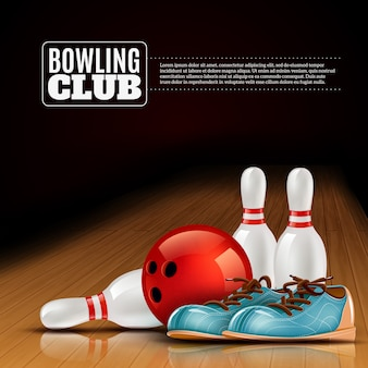 Cartaz de clube indoor de boliche