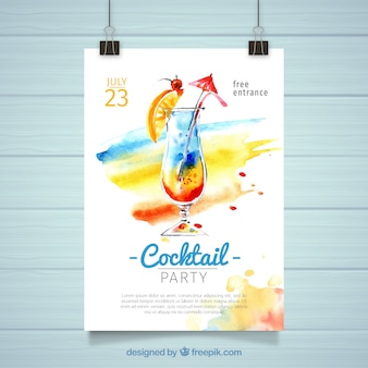 Cartaz de cocktail de aquarela