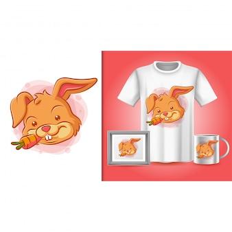 Cartaz de coelho, camiseta e merchandising