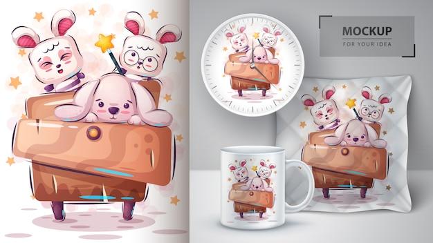 Cartaz de coelho fofo e merchandising