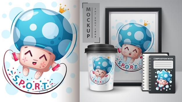 Cartaz de cogumelo esportivo e merchandising