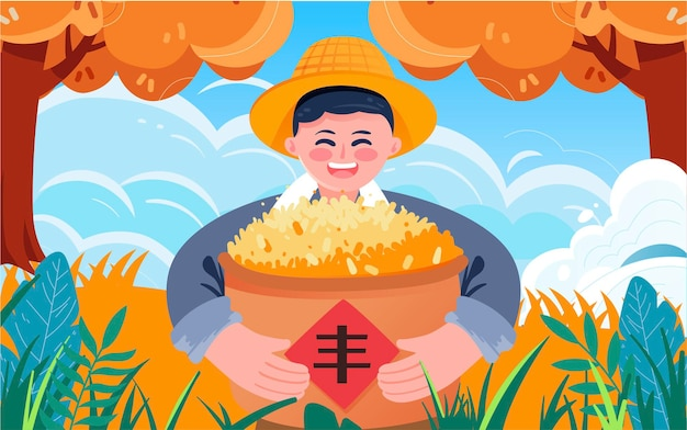 Cartaz de colheita de grãos de outono ilustração de fazendeiros colheita de safras