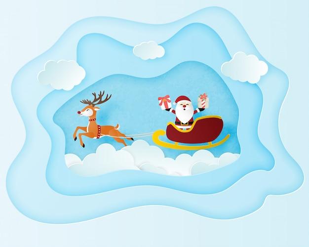 Cartaz de comemoração de natal em papel cortado estilo. a arte de papel fez papai noel e renas voando sobre o cloudscape.