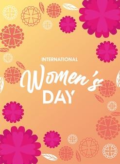 Cartaz de comemoração do dia internacional da mulher com flores amarelas e ilustração de letras