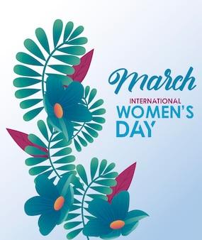 Cartaz de comemoração do dia internacional da mulher com flores azuis e ilustração de letras