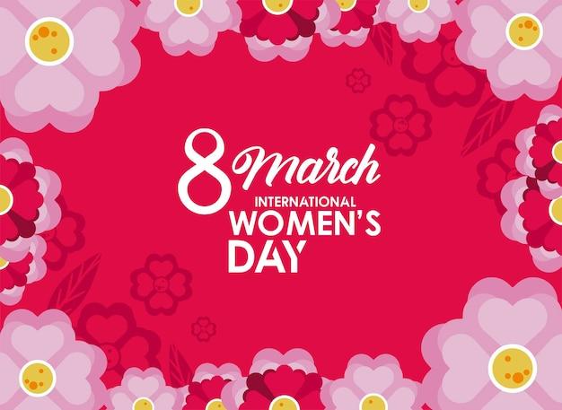 Cartaz de comemoração do dia internacional da mulher com flores lilás em ilustração de fundo rosa
