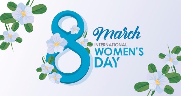Cartaz de comemoração do dia internacional da mulher com ilustração de letras e flores