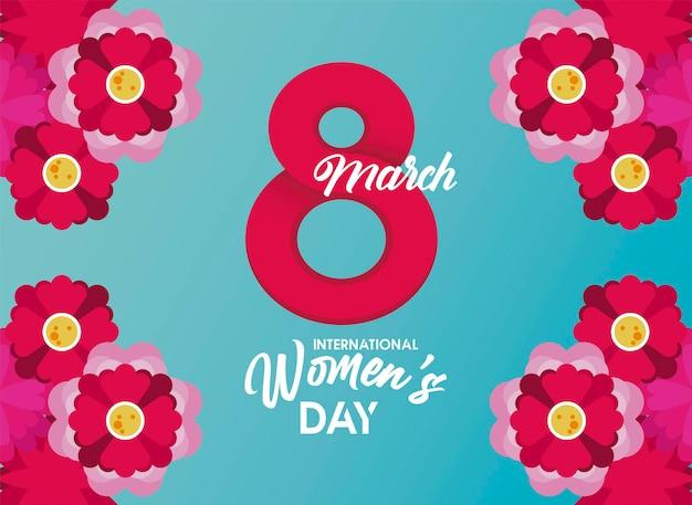 Cartaz de comemoração do dia internacional da mulher com ilustração de número oito e flores