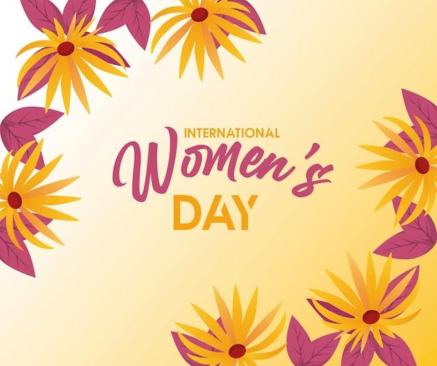 Cartaz de comemoração do dia internacional da mulher com letras e ilustração de flores amarelas