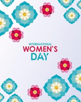 Cartaz de comemoração do dia internacional da mulher com letras e ilustração do jardim de flores