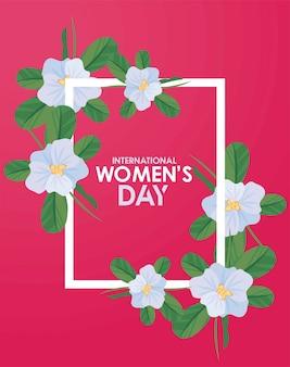 Cartaz de comemoração do dia internacional da mulher com letras em ilustração floral moldura