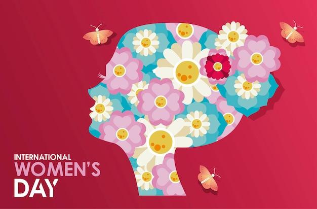 Cartaz de comemoração do dia internacional da mulher com perfil de menina e ilustração de borboletas