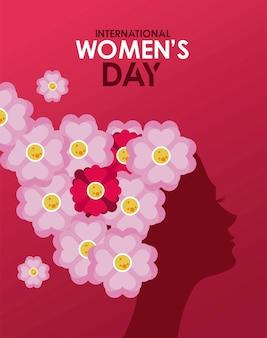 Cartaz de comemoração do dia internacional da mulher com perfil de menina e ilustração de cabelo de flores