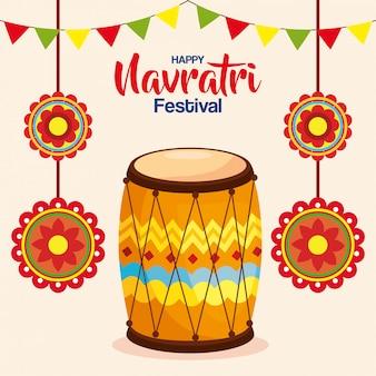 Cartaz de comemoração do feliz navratri com dhol