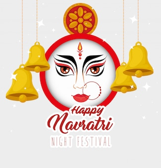 Cartaz de comemoração do navratri feliz, festival noturno com cara de durga