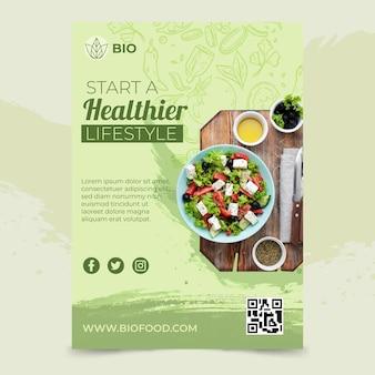 Cartaz de comida biológica e saudável