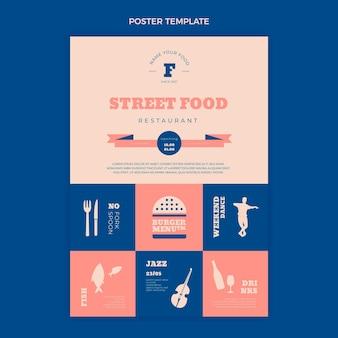Cartaz de comida de rua plana